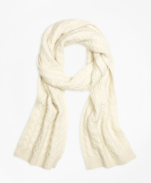Women's Ivory Cable Knit Scarf   Brooks Brothers