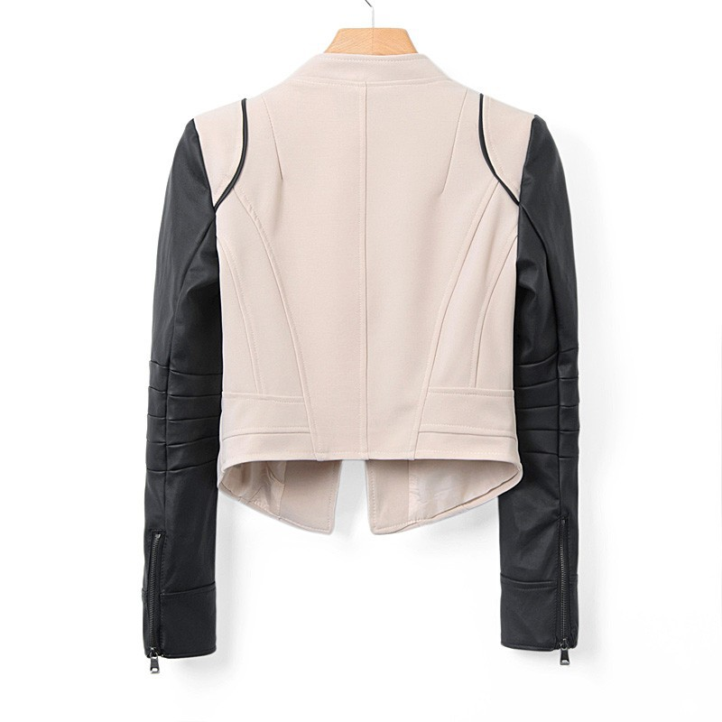 Wholesale Color Block Long Sleeves Zipper Modern Style Faux Leather Jacket For Women (AS THE PICTURE,S), Jackets & Coats - Rosewholesale.com