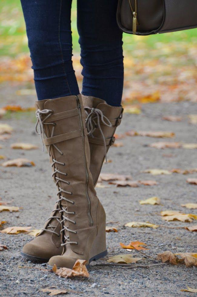 Up wedge knee high boots
