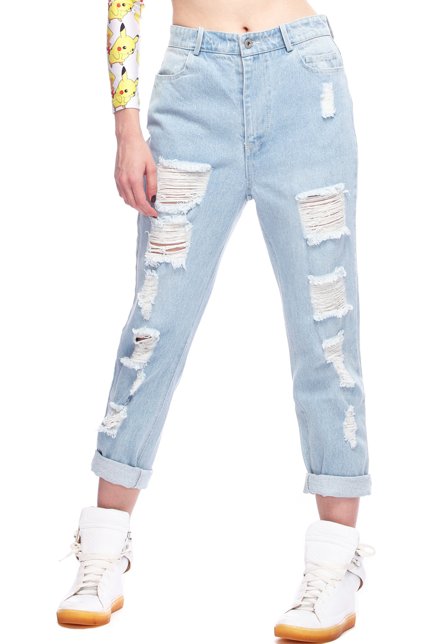 ROMWE | Distressed Light Blue Jeans, The Latest Street Fashion