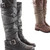Womens Riding Winter Biker Style Low Flat Heel Knee Boots Size 3 - 8 | Amazing Shoes UK