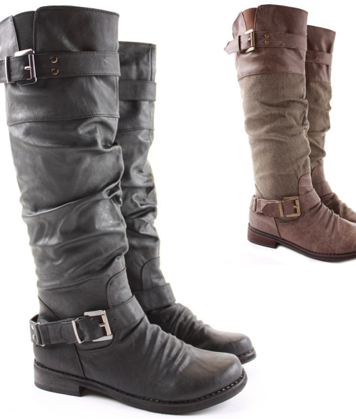 Womens Riding Winter Biker Style Low Flat Heel Knee Boots Size 3 - 8 | Amazing Shoes UK