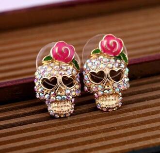 jewels skull earrings flowers strass