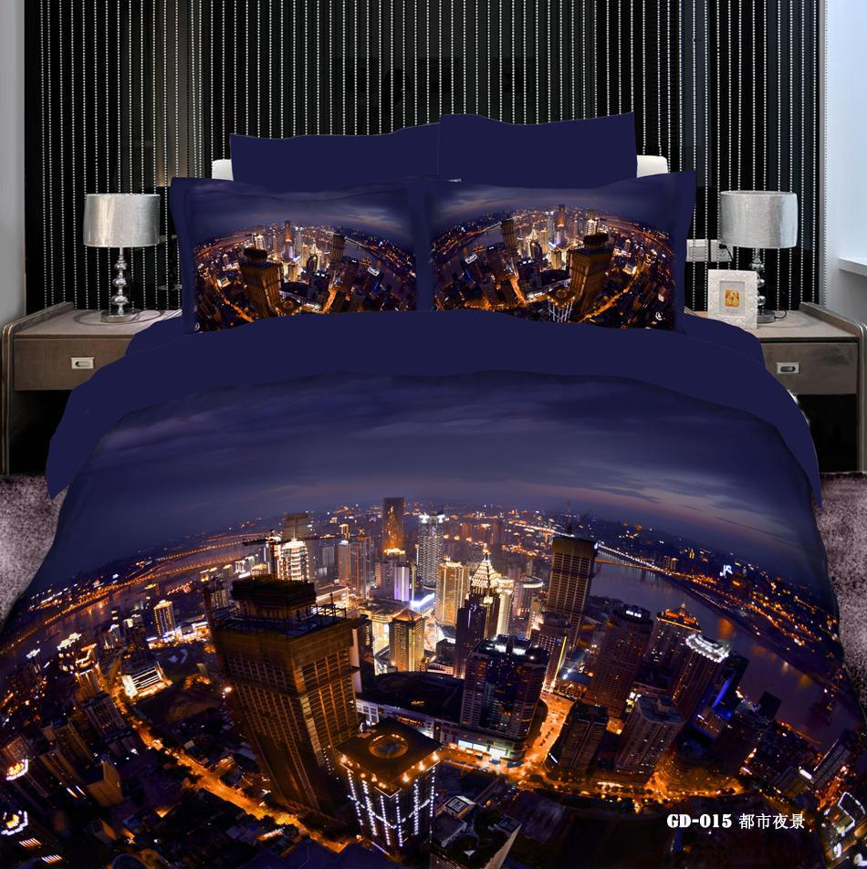 Cheap 3d Bedding Sets - Best 3d Vivid City Night View Comforters Bedding Sets Queen King Size 100 Cotton Fabric Quilt Duvet Cover Flat Fitted Bed Sheet Pillowcase Online with $96.33| DHgate
