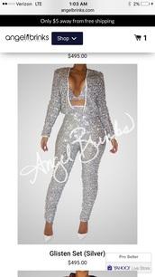 pants,suit,sparkle,party outfits,silver