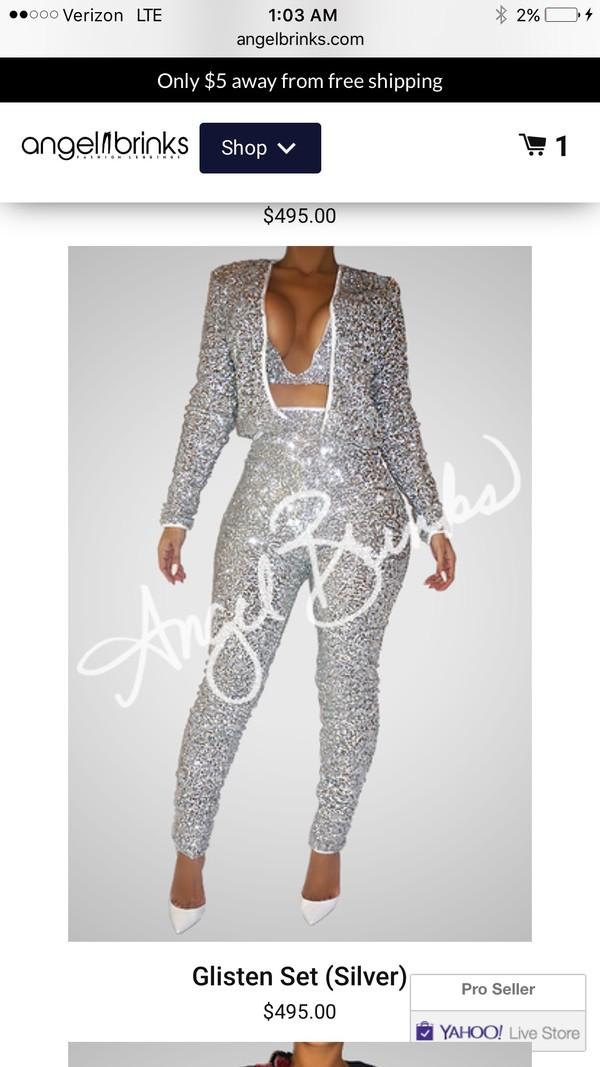 pants suit sparkle party outfits silver. 26e5bd4a5