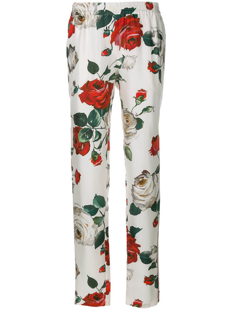 rose women white print silk pants