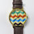 Chevron 3D Watch, Vintage Style Leather Watch, Women Watches, Unisex Watch, Boyfriend Watch,