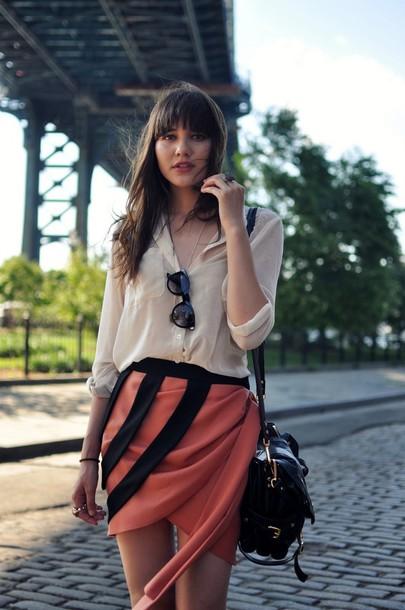natalie off duty red skirt black skirt