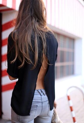 top black top slit open back blouse jeans