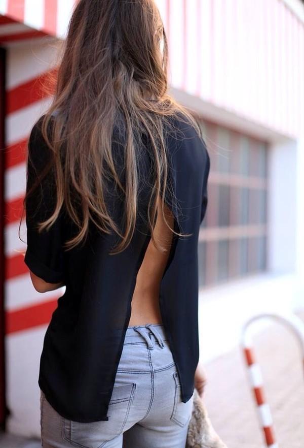 blouse top black top slit open back slit jeans backless top backless denim blue jeans