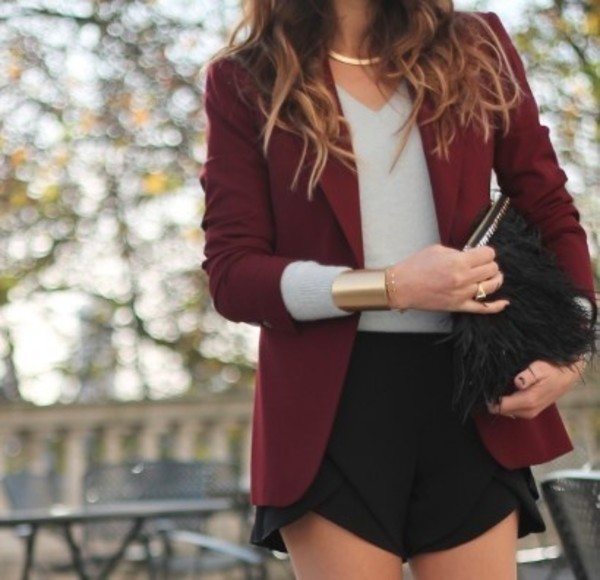 jacket blazer burgundy shorts coat jewels blouse bracelets