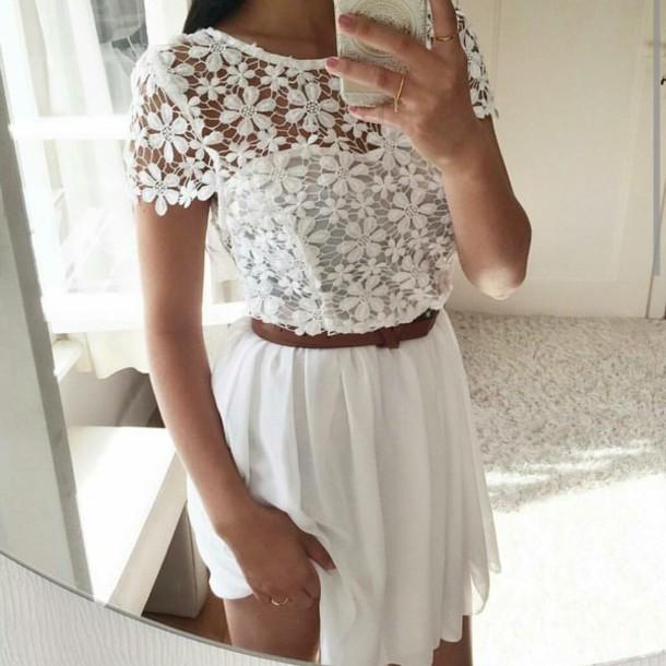 dress lace white brown belt wheretoget
