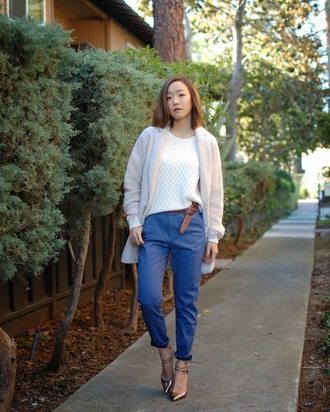 monkeyshines blogger white sweater knitted sweater knitted cardigan pointed toe metallic shoes