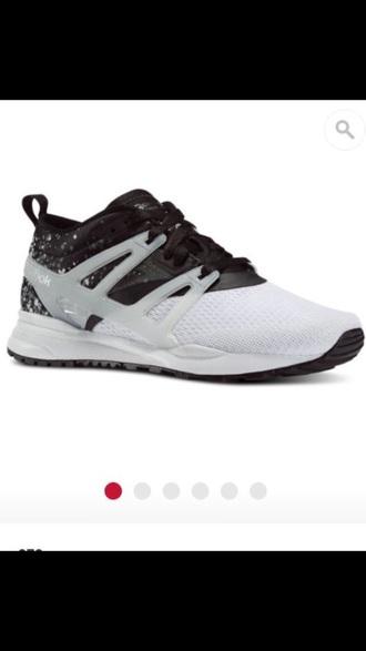 shoes reebok black white trainers grey