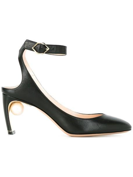 women pearl pumps leather black shoes