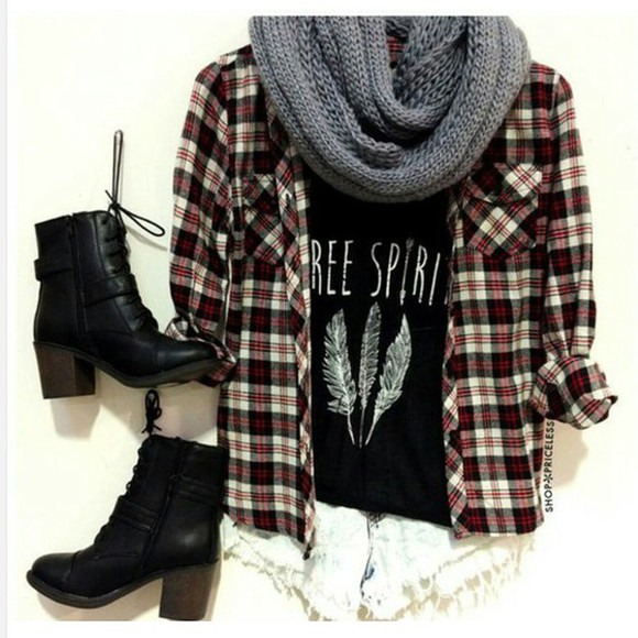 flannel shirt free spirit feathers black boots scarf