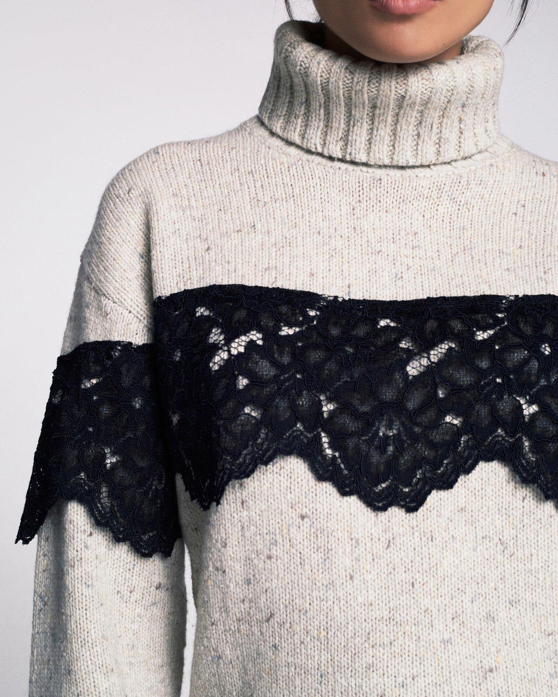 Weston T-Neck Pullover In Oatmeal Combo | Tops | MARISSA WEBB
