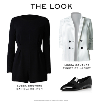 jacket blazer romper pointed toe flats jumpsuit pinstripe black masculine minimalist