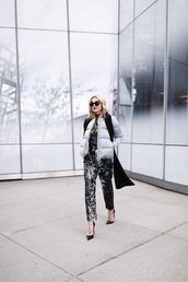 atlantic pacific,blogger,jacket,sweater,scarf,pants,shoes,sunglasses,puffer jacket,high heel pumps,pointed toe pumps,tumblr,printed pants,top,grey top,grey jacket,pumps,black heels,black scarf,winter outfits,work outfits