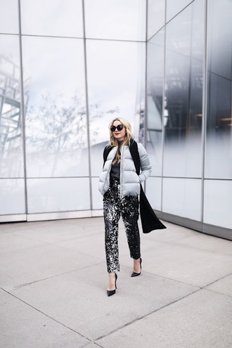 atlantic pacific blogger jacket sweater scarf pants shoes sunglasses puffer jacket high heel pumps pointed toe pumps tumblr printed pants top grey top grey jacket pumps black heels black scarf winter outfits work outfits