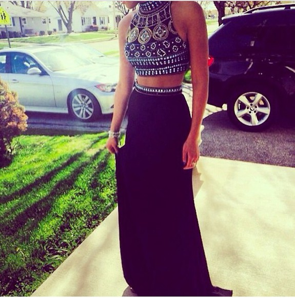 crop tops style bleu red white dresss taille haute jupe prom dress skirt black maxi skirt maxi dress dress diamonds pearl jewels blouse