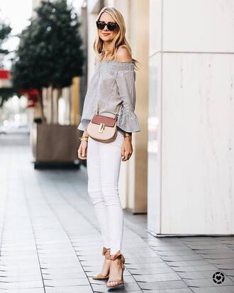 top tumblr grey top off the shoulder off the shoulder top sandals sandal heels high heel sandals nude sandals denim jeans white jeans bag sunglasses shoes