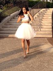 dress,jewels,top,cream,prom dress,wedding,short dress,wedding dress,skirt,white skirt,crop tops,white dress,white,2 piece prom dress,homecoming dress,black girls killin it
