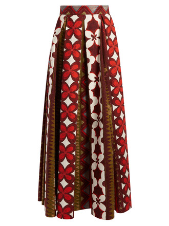 skirt pleated print red