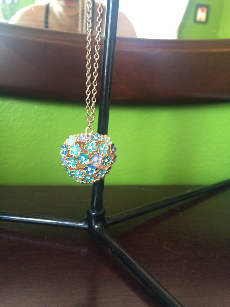 jewels blue flowerers necklace diamonds gold