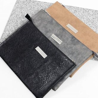 bag maniere de voir clutch laptop pouch snake embossed suede effect nude grey plaque pockets