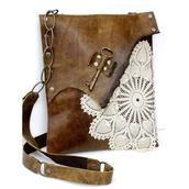 messenger bag,brown bag,lace bag,leather bag,key,lace flower,Crochet Doily,bag
