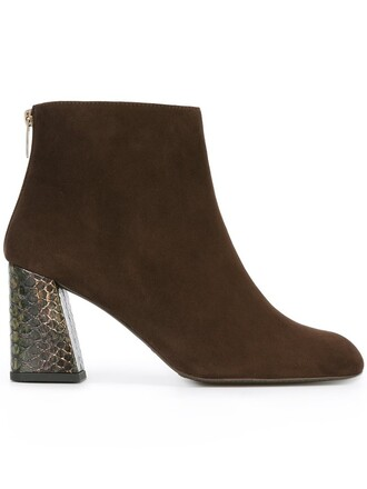 heel women boots ankle boots leather suede brown shoes