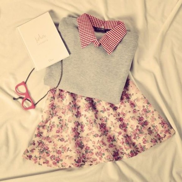 tights skirt floral vintage checkered blouse sweater roses pink skirt mini skirt checker red