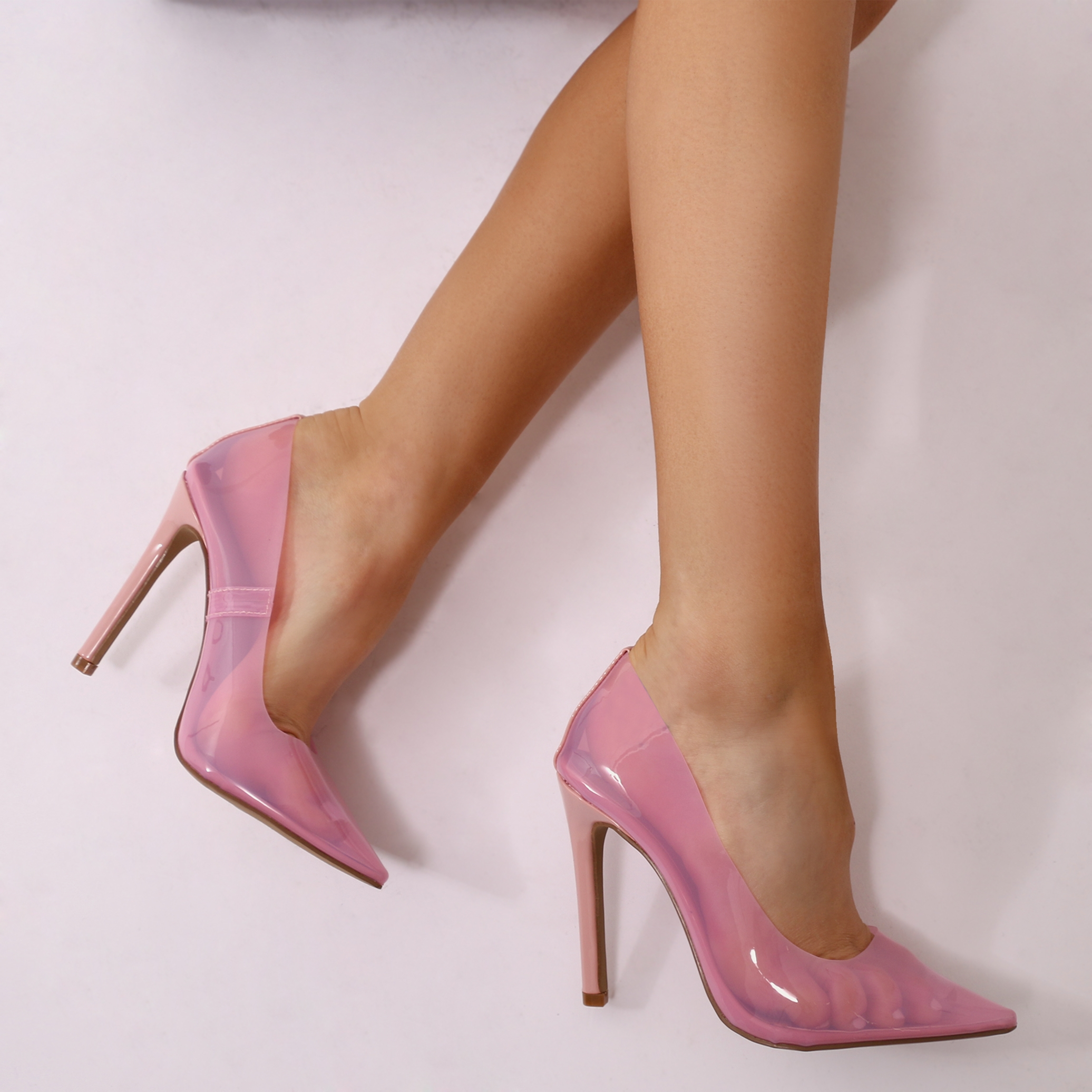 ada119a1f16 Extra Clear Perspex Court Heels in Pink