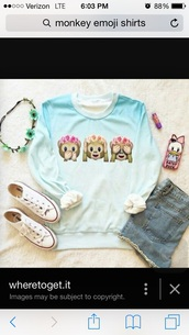 shirt,blue dyed monkey emoji shirt,monkey emoji,hot,special,blue,white,blue and white,tie dye,fade,painting,gradient,blue sweater,outfit,flower crown,tumblr girl,tumblr,pinterest,girly,pretty,cute,funny,etsy,converse,basic,sea,theme,fashion inspo,casual,casual sweater,fashion,fashionista,sweater,white sweater,monkey,emoji print