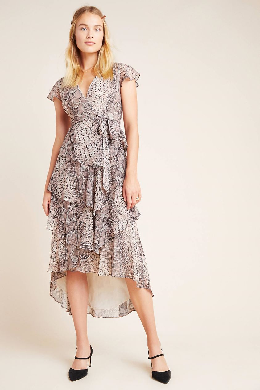 Serpentine Ruffled Midi Wrap Dress by Hutch in Assorted