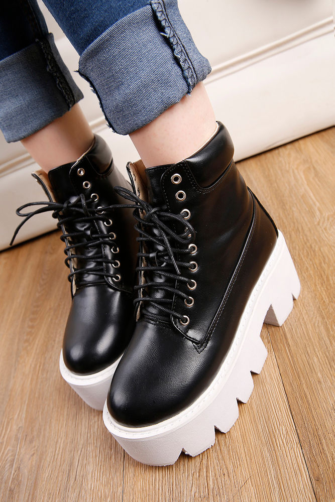 Womens Shoes Block High Heels Platform Thicken Sole Lace Up Gothic Boots Black 8