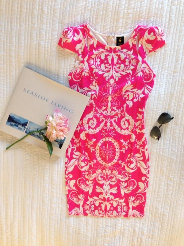 dress short hot pink dress hot pink dress pink and white dress