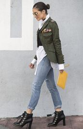 jacket,jeans,ankle boots,olivia culpo,military style,shirt,top,crop tops