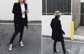 mija blogger hat t-shirt jeans coat belt sneakers black coat felt hat spring outfits
