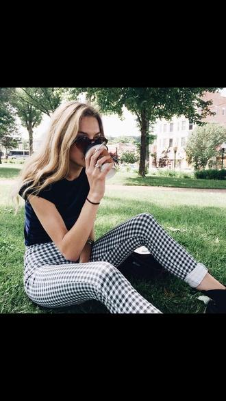 pants black and white vichy