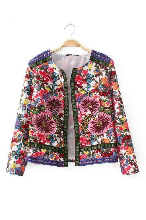 Statement floral embroidered jacket goodnight macaroon