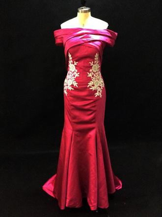 dress evening dress elegant evening dress mermaid evening gown fushia dress off shoulder