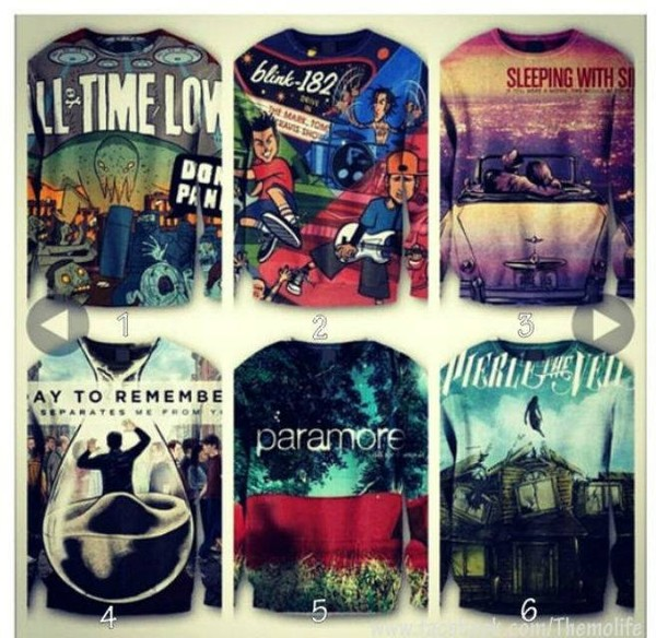 sweater all time low blink 182 cool amazing this band merch band sleeping with sirens a day to remember pierce the veil band t-shirt band t-shirt pop-punk alternative paramore printed sweater clothes