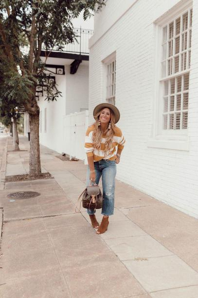januaryhart blogger sweater jewels shoes hat ankle boots backpack