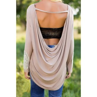 top fashion style open back long sleeves casual backless lace spliced long sleeve pleated t-shirt for women lace girly cool