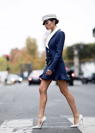 dress navy navy dress pumps paris fashion week 2017 mini dress hat olivia culpo streetstyle fall dress