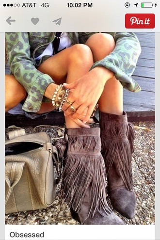 shoes jacket leopard print jeans green print boots fringes denim jacket fringe shoes gray boots green jacket country style hair accessory