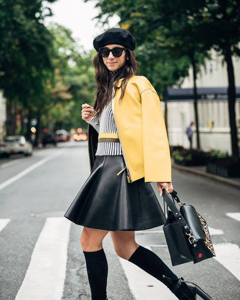 jacket tumblr yellow yellow jacket skirt mini skirt black leather skirt leather skirt socks bag sunglasses hat beret